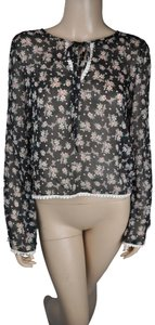 Robin K Floral Long Sleeve Top Black
