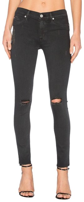 Item - Blackened Charcoal Destructed Distressed Nico Midrise Super Skinny Jeans Size 2 (XS, 26)