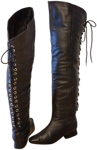 Two Lips Over The Knee Laces black Boots