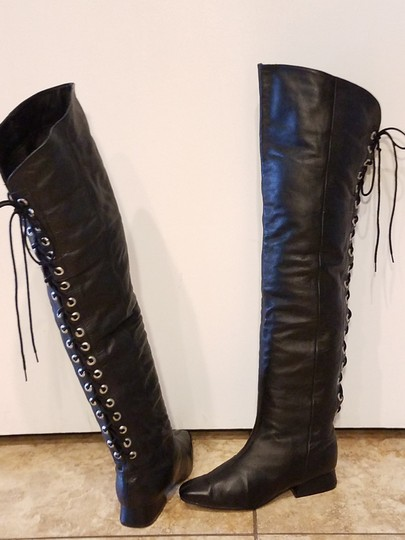 Two Lips Over The Knee Laces black Boots Image 1