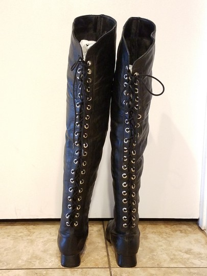 Two Lips Over The Knee Laces black Boots Image 4