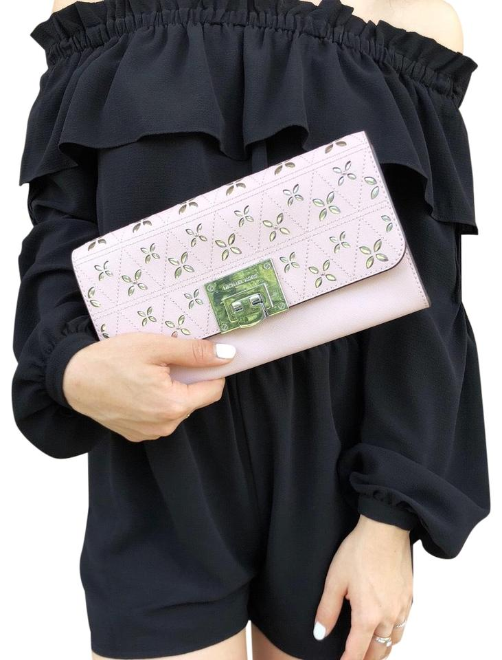 ff9ed514faff Michael Kors Tina Perforated Shoulder Blossom Pink Leather Clutch ...