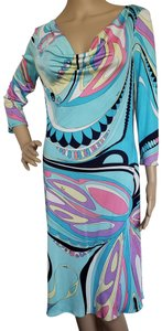 Emilio Pucci Leopard Longsleeve Embroidered Sundress Paisley Dress