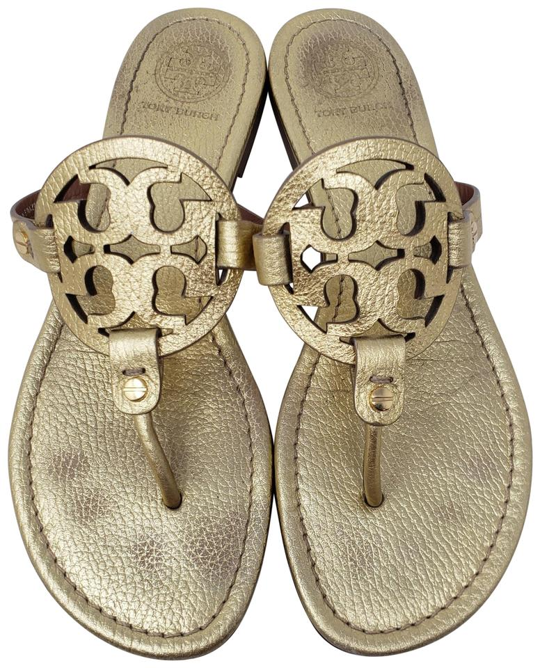 c2b579995e6d Tory Burch Gold Metallic Leather Miller Sandals Size US 9 Regular (M ...