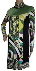 Emilio Pucci Longsleeve Monogram Embroidered Paisley Turtleneck Dress