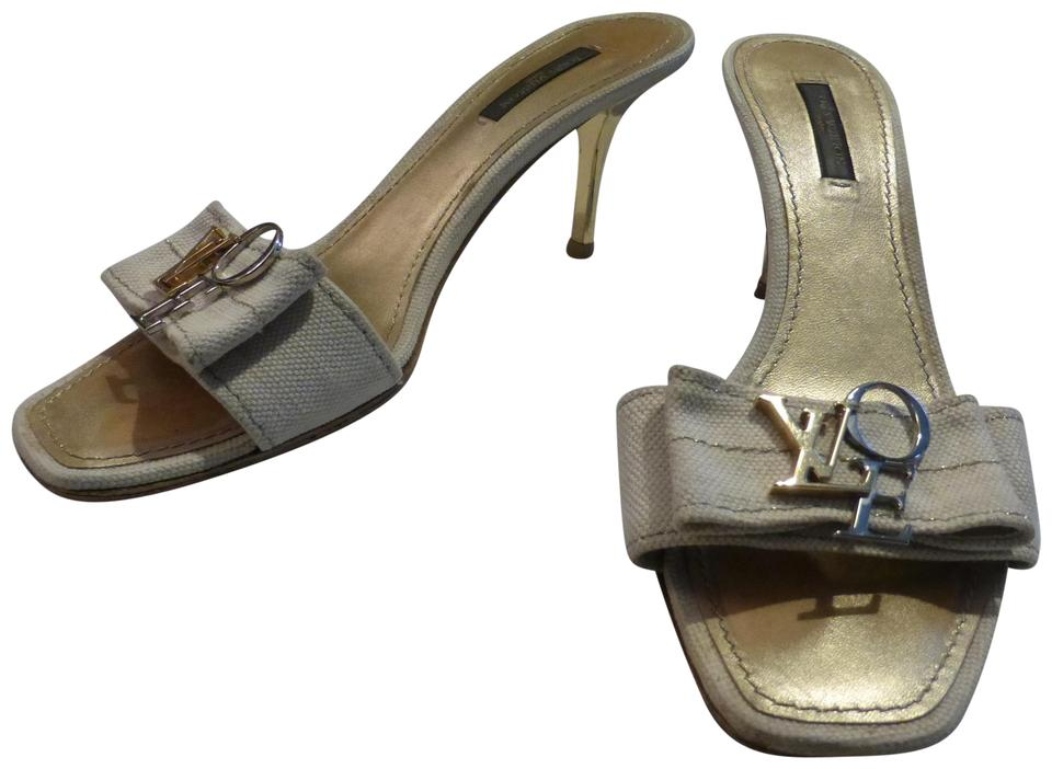 53b0748ed Louis Vuitton Tan Canvas   Gold Hardware  Heels Italy Mules Slides. Size  EU  ...