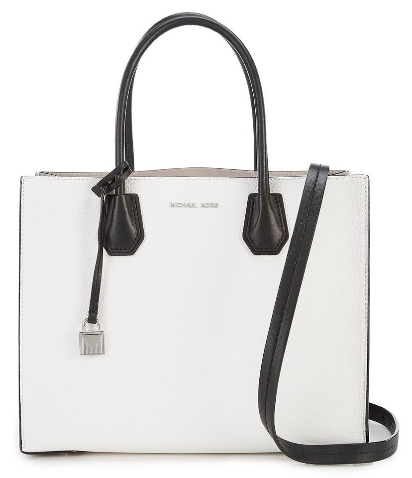 3e10456f87a8 Michael Kors Studio Mercer Leather Convertible Mercer Colorblock  White/Grey/Black Tote in Optic ...