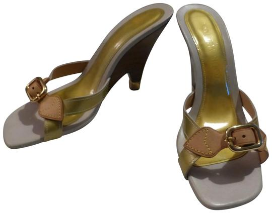 Preload https://img-static.tradesy.com/item/23734426/louis-vuitton-tan-leather-and-yellow-green-patent-leather-france-wedges-size-eu-36-approx-us-6-regul-0-1-540-540.jpg