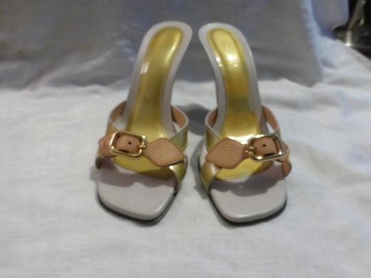 Louis Vuitton tan leather & yellow green patent leather Wedges Image 1