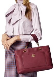 Tory Burch Leather Burgundy Long Strap Satchel in Imperial Garnet