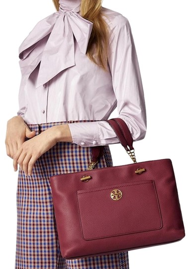 Tory Burch Leather Burgundy Long Strap Satchel in Imperial Garnet Image 0