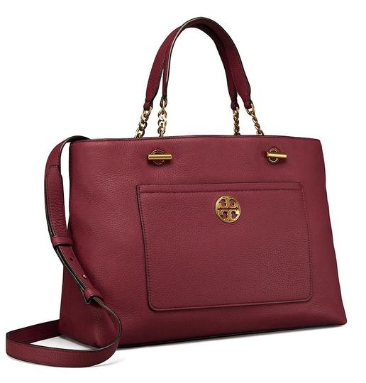 Tory Burch Leather Burgundy Long Strap Satchel in Imperial Garnet Image 2