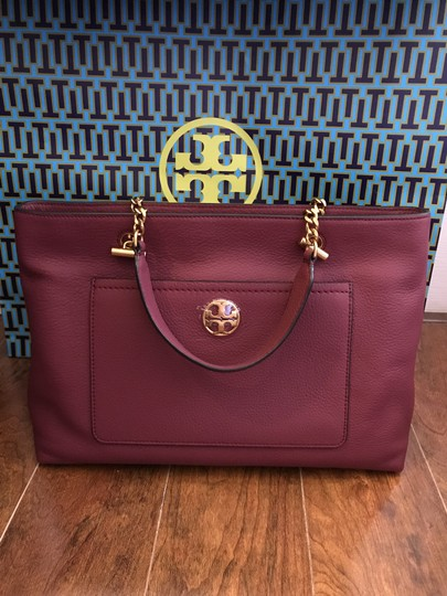 Tory Burch Leather Burgundy Long Strap Satchel in Imperial Garnet Image 3