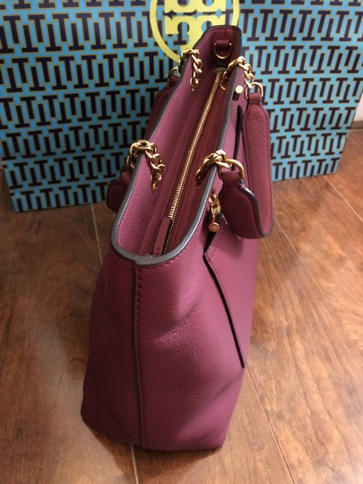 Tory Burch Leather Burgundy Long Strap Satchel in Imperial Garnet Image 4