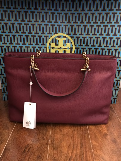 Tory Burch Leather Burgundy Long Strap Satchel in Imperial Garnet Image 5