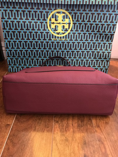 Tory Burch Leather Burgundy Long Strap Satchel in Imperial Garnet Image 7