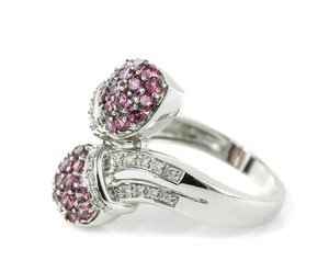 Paved Diamonds and Pink Stones Ring Paved Diamond and Pink Gemstones Ring