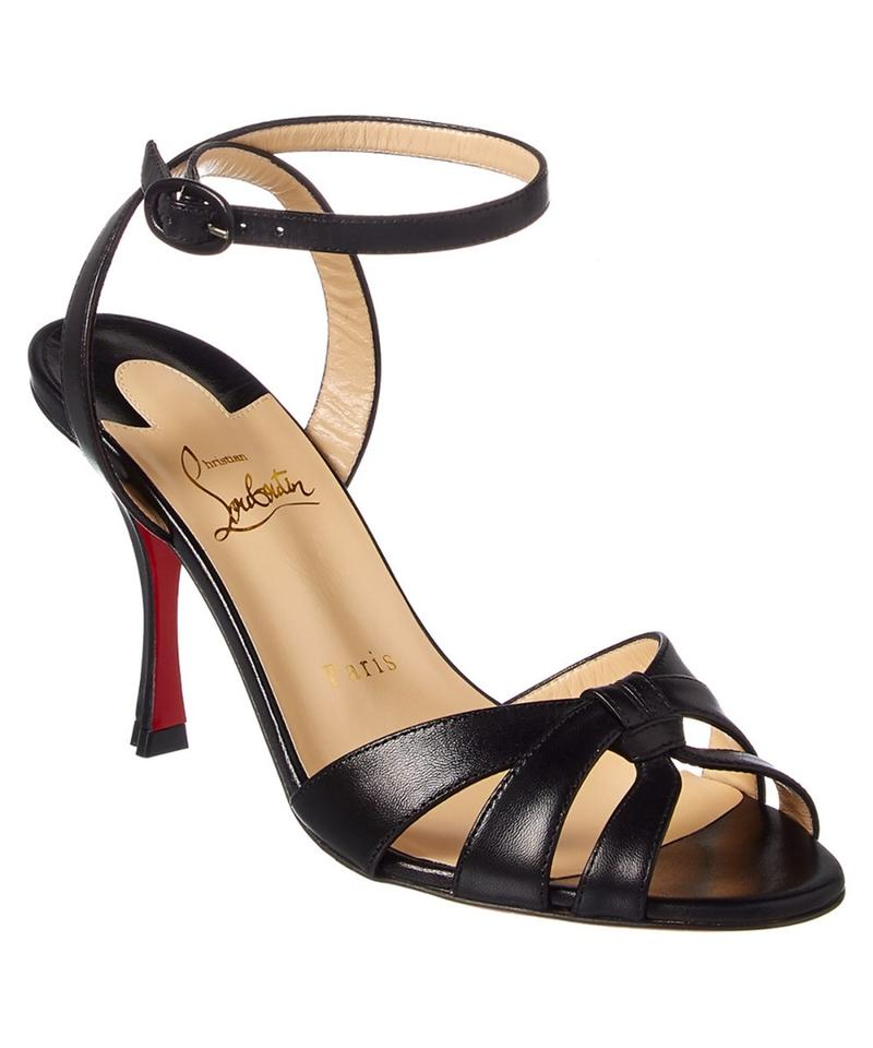 new product dcecf 8a3b0 Christian Louboutin Black Trezuma 85 Leather Ankle Strap Pumps Sandals Size  EU 35.5 (Approx. US 5.5) Regular (M, B) 15% off retail