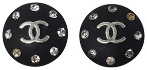 Chanel Silver-tone Chanel crystal Interlocking CC button earrings