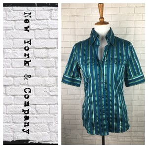 New York & Company Button Down Shirt Blue/gold/teal