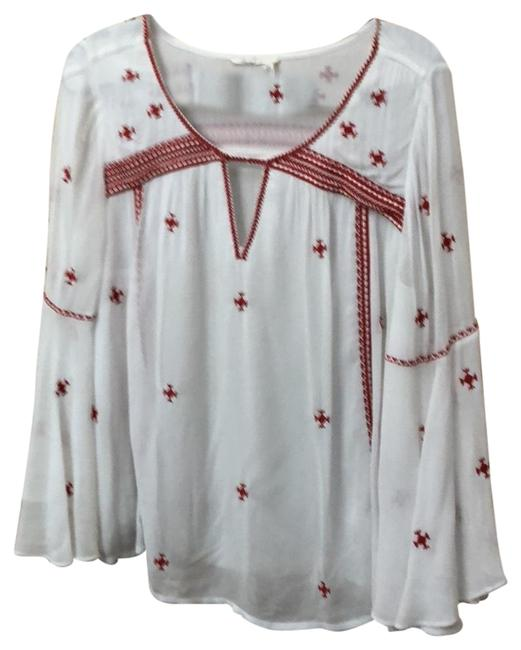Item - White/Red Embroidered Blouse Size 10 (M)