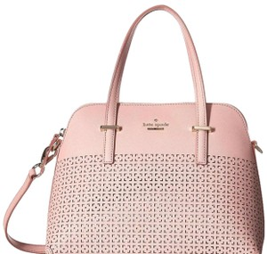 Kate Spade Maise Leather Satchel Tote in Pink Bonnet