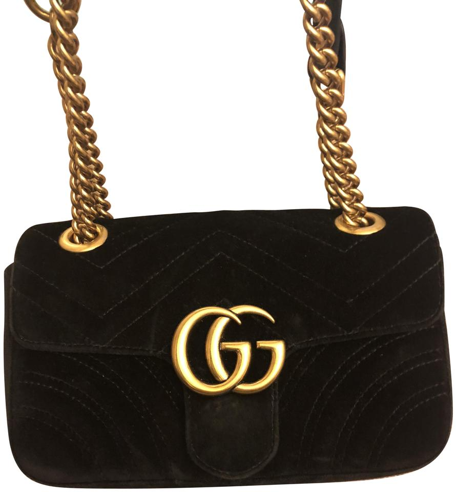44616a758893 Gucci Marmont Mini Black Velvet Cross Body Bag - Tradesy