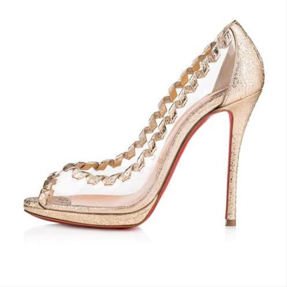 huge discount b8c4a 117e7 Christian Louboutin Gold Hargaret 120 Pvc Transparent Metallic Leather Open  Toe Heel Pumps Size EU 36.5 (Approx. US 6.5) Regular (M, B) 27% off retail