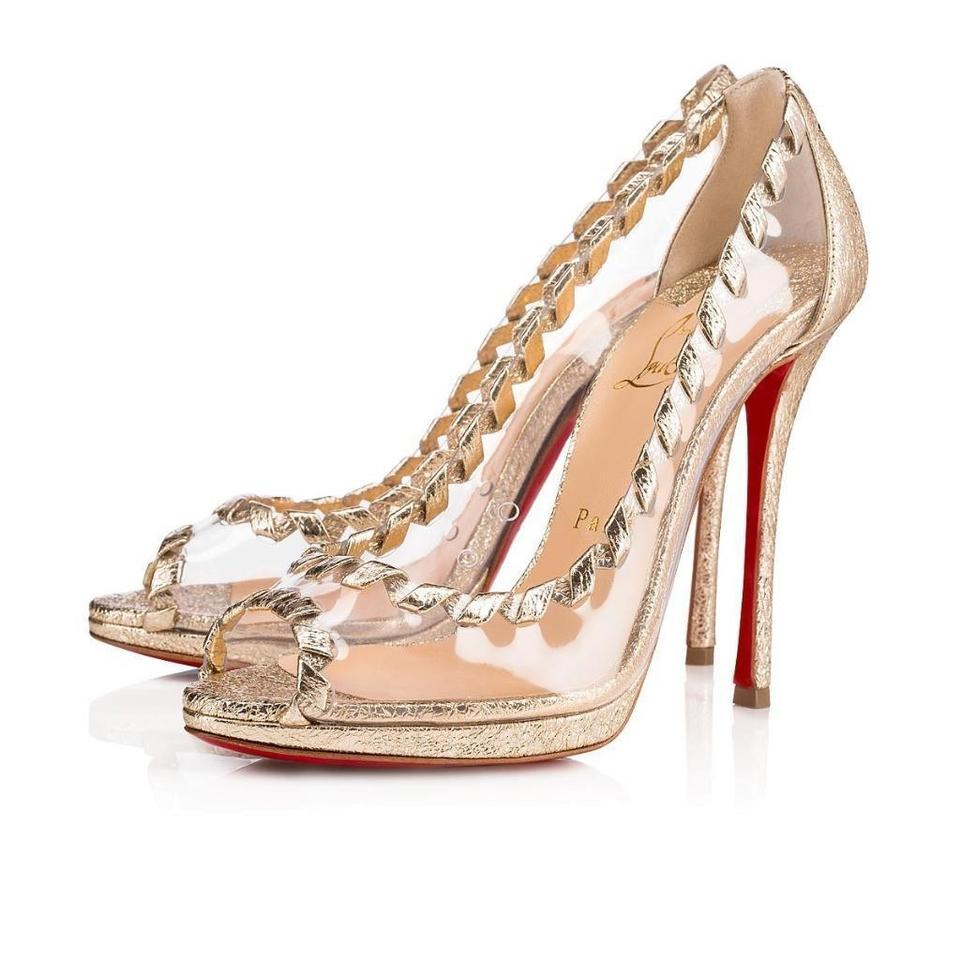 77fc0e861a99 ... Toe Christian Gold Transparent Pvc 120 Heel Metallic Louboutin Pumps  Leather Hargaret Open w4qwaHUcFS ...