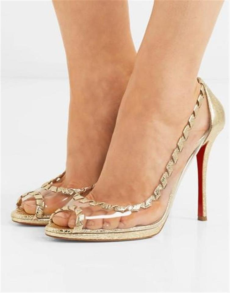Toe Gold Open Louboutin Heel 120 Christian Hargaret Transparent Leather Metallic Pumps Pvc pHz6Tx6n