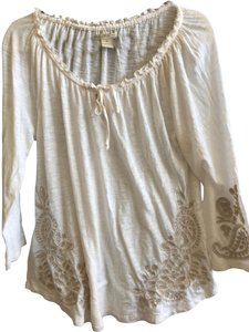 75b433a31c5d Lucky Brand Cream with Tan Embroidery Blouse Size 16 (XL
