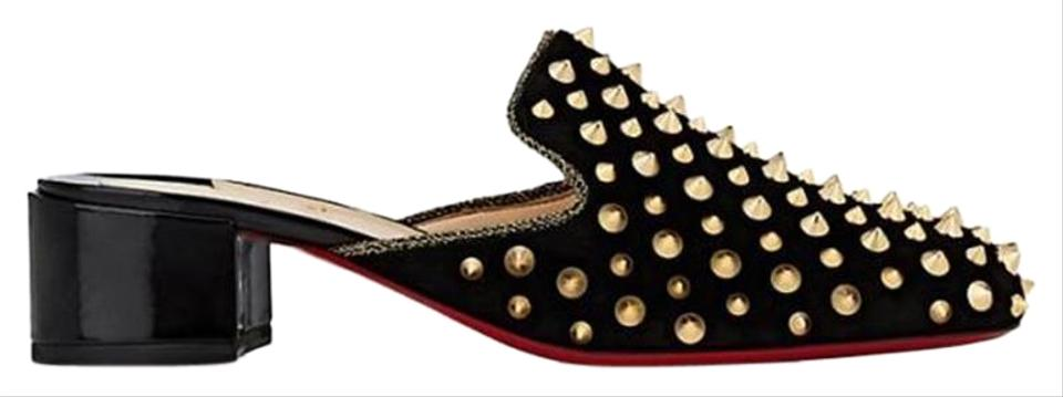 cb87b2ed67f Christian Louboutin Black/Gold Mulaconka Studded Spike Suede Slide Mule  Heels Sandals Size EU 36.5 (Approx. US 6.5) Regular (M, B) 32% off retail