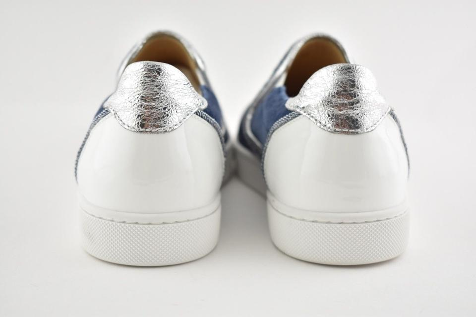 White Silver Low Flats Christian Patent Blue Sneaker On Masteralta Denim Slip Top Louboutin fwX7IqXR