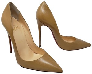 Christian Louboutin Pointed Toe Patent Leather Pigalle Metallic So Kate Beige Pumps