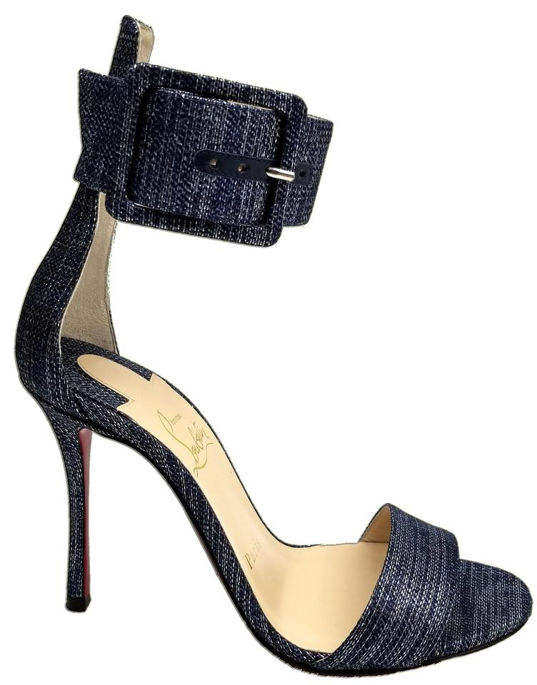 Christian Louboutin Denim Heels Blue Blade Runana 100 Ankle Cuff Heels Denim Sandals Pumps 751cc5