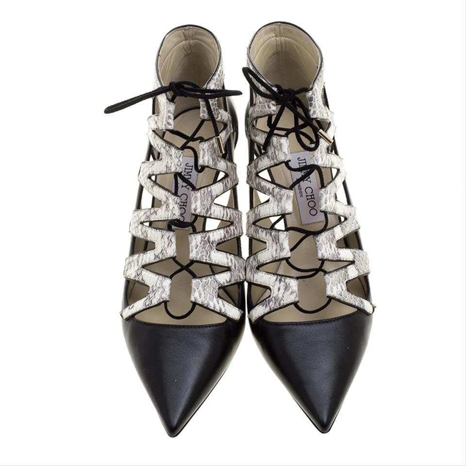 Jimmy Choo Pumps Embossed Pointed Dixon Snakeskin and Black Cut Out Leather rFgdwrq