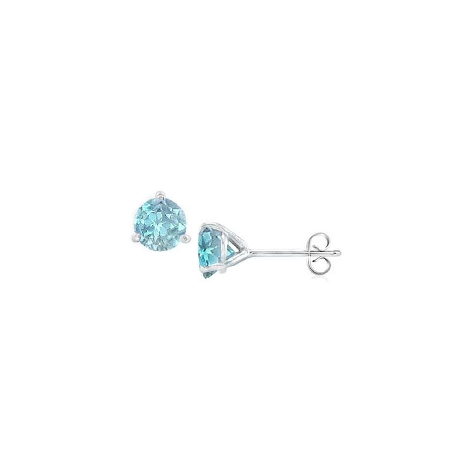 Designerbyveronica Sterling Silver Martini Style Aquamarine Stud Earrings With 2 00 Ct Tg