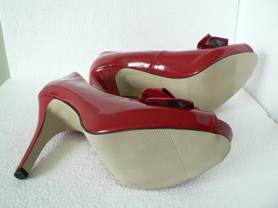 Polished Prada Stiletto Red Pumps