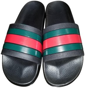 Gucci Black with red and green stripes Sandals