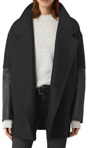 AllSaints Wool Leather Pea Coat