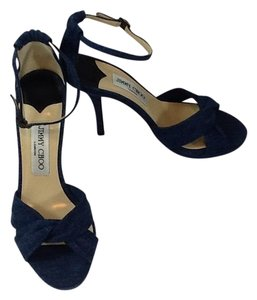 "Jimmy Choo Front Platform 1/2""+ Padded Inner Sole Includes Dustbag Includes Box Denium Sandals/Heels 4.25"" Sandals"