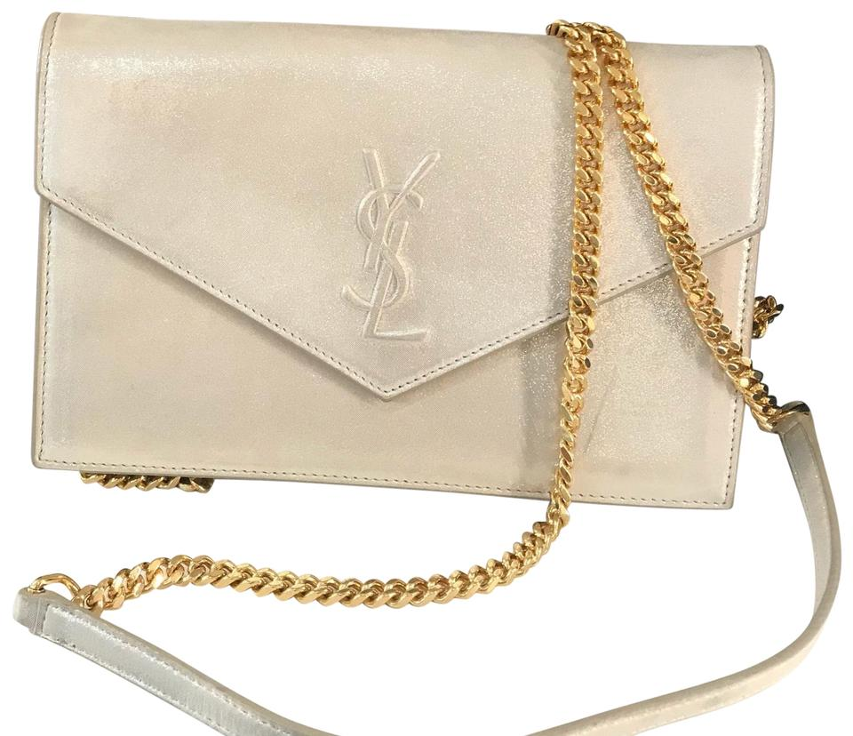 Leather Champagne Body Cross Gold Bag Laurent Saint Shimmery wvnPqxIwF