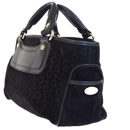 Céline Made In Italy Suede Leather Tote in BLACK Image 1
