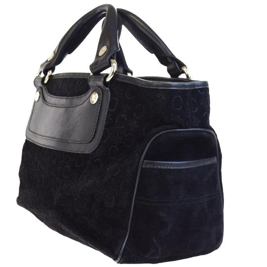 Céline Made In Italy Suede Leather Tote in BLACK Image 3