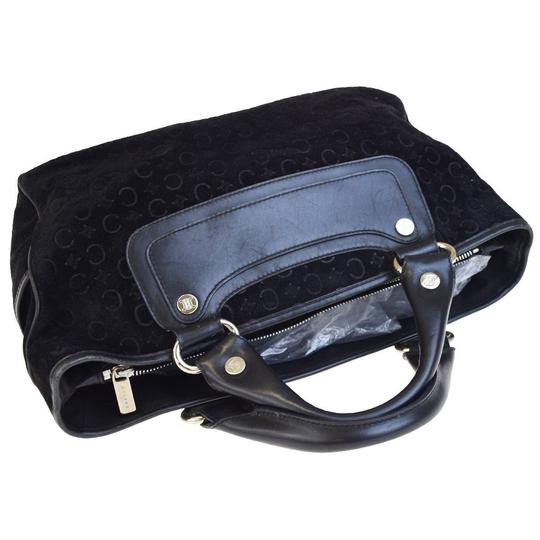 Céline Made In Italy Suede Leather Tote in BLACK Image 5