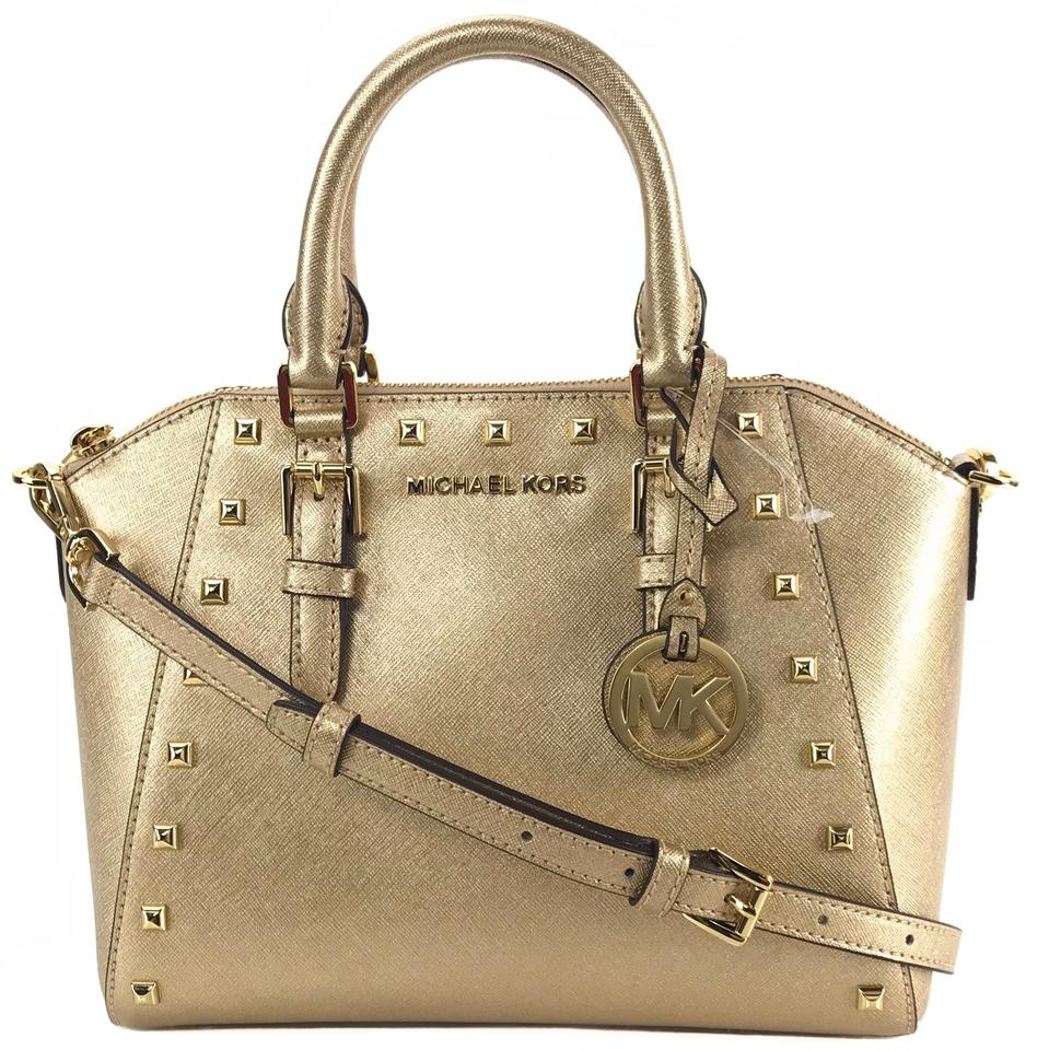 7767f7fbf971 Michael Kors Ciara Md Studded Messenger W  Shoulder Strap Gold ...