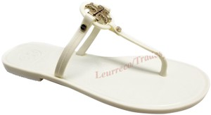 Tory Burch Gold Logo Flip Flops Jelly Thong off White/Navajo White Sandals