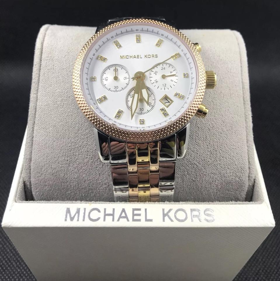 04cd4834772 Michael Kors Rose Gold Gold Silver Tri Tone Ritz Chronograph Watch ...