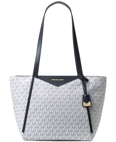 Preload https://img-static.tradesy.com/item/23737491/michael-kors-signature-whitney-med-navy-coated-canvas-tote-0-0-540-540.jpg