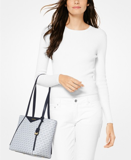 Michael Kors Whitney Small Navy/White Signature Tote in Navy Image 1